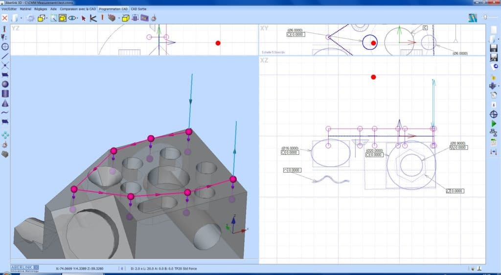 Logiciel de mesure ABERLINK 3D programmation avec fichier 3D